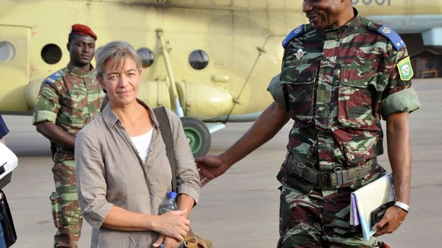 FILE - In this April 24, 2012, file photo, released Swiss hostage Beatrice Stoeckli, left, stands in Ouagadougou, Burkina Faso, following arrival by helicopter from Timbuktu, Mali, after being handed over by militant Islamic group Ansar Dine. SwitzerlandâÄ™s Foreign Ministry said Friday, Oct. 8, 2020, that Stoeckli has been killed by an Islamist group. The ministry said it was informed by French authorities that the hostage had been âÄœkilled by kidnappers of the Islamist terrorist organization JamaâÄ™at Nusrat al-Islam Muslimeen about a month ago.âÄ Stoeckli was kidnapped four years ago. (AP Photo/Brahima Ouedraogo, File)  [Brahima Ouedraogo - AP via Keystone]