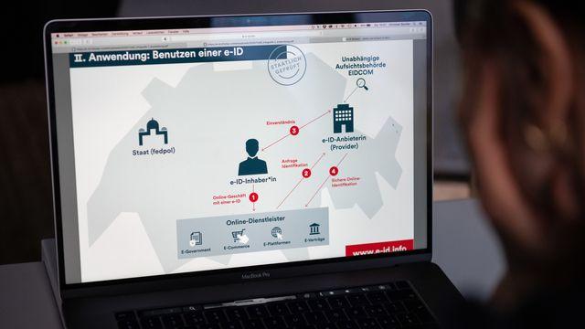 L'identité électronique (e-ID) verra le jour grâce à un partenariat public-privé.  [Christian Beutler - Keystone]