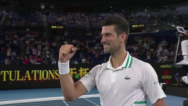 1-2, N.Djokovic (SRB) - A.Karatsev (RUS) 6-3, 6-4, 6-2: Trop fort pour Karatsev, Djokovic passe en finale [RTS]