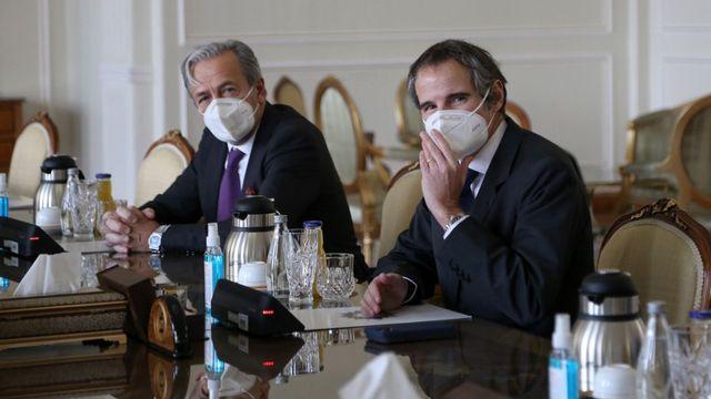 Le directeur général de l'AIEA était arrivé samedi à Téhéran, où il a rencontré le ministre des Affaires étrangères Mohammad Javad Zarif. [Fatemeh Bahrami - afp]
