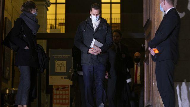 Pierre Maudet quittant le Palais de Justice le 22 février 2021. [Salvatore Di Nolfi - Keystone]