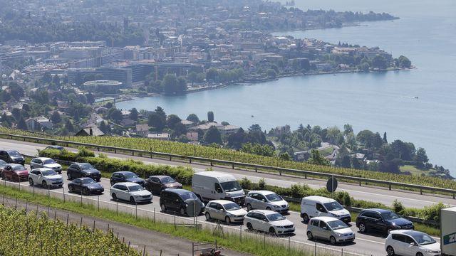 Plusieurs chantiers simultanés sont prévus sur l'A9 entre Lausanne et Vevey en 2021. [Cyril Zingaro - Keystone]