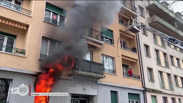 Un violent incendie a éclaté vendredi dans un appartement carougeois (GE). [RTS]