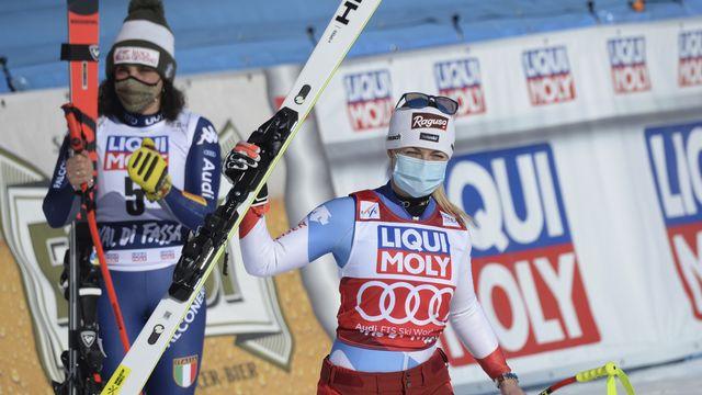 Lara Gut-Behrami est monté sur son 10e podium de l'hiver. [Elvis Piazza - Keystone]