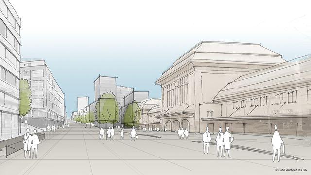 """Une vue du futur quartier """"La Rasude"""" selon le projet du lauréat genevois, le bureau Eric Maria. [La Rasude / Eric Maria /EMA Architectes SA - DR]"""