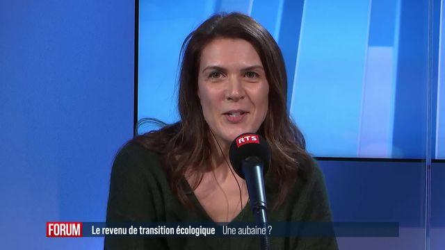 Le revenu de transition écologique dans le canton du Jura : interview de Sophie Swaton [RTS]