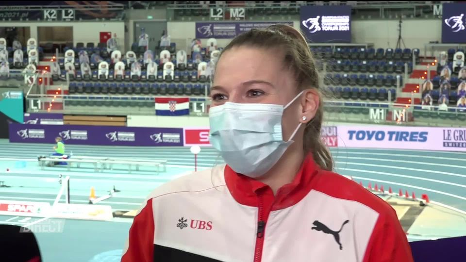 Saut à la perche dames, finale: la réaction d'Angelica Moser (SUI) à l'interview après sa victoire [RTS]