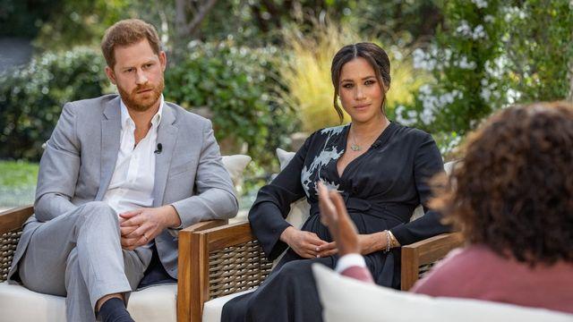Le prince Harry et son épouse Meghan Markle lors de l'interview d'Oprah Winfrey. [Joe Pugliese - Harpo Productions/AFP]