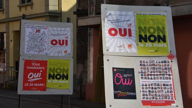 La campagne 2021 pour l'appartenance cantonale de Moutier. [Gaël Klein - RTS]