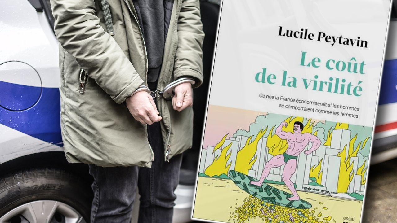 """Couverture du livre """"Le coût de la virilité, ce que la France économiserait si les hommes se comportaient comme les femmes"""", de Lucile Peytavin [AFP et Capture d'écran - RTS]"""