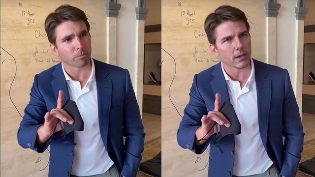 Une image extraite de la vidéo des coulisses du deepfake de Tom Cruise avec l'acteur Miles Fisher.