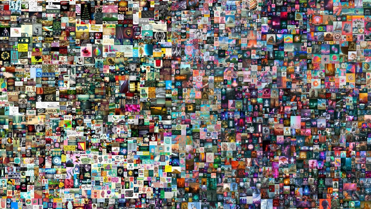 La création de l'artiste américain Beeple, entièrement virtuelle, a frôlé les 70 millions de dollars aux enchères. [Christie's - Keystone]