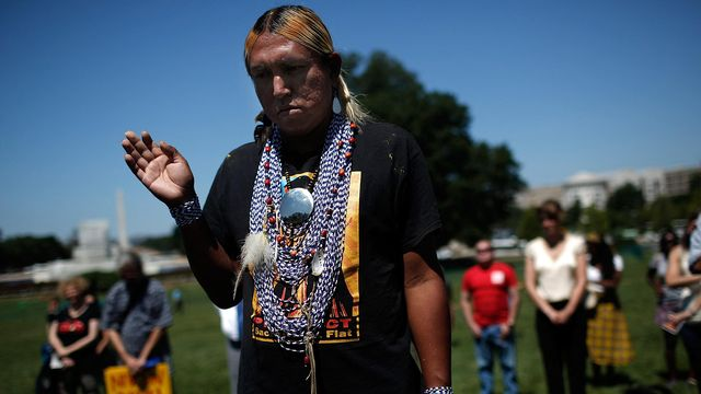 Des membres de la nation apache San Carlos [Win Mcnamee - Getty images north america / Getty images via afp]