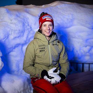 Camille Rast réalise une super saison en slalom notamment. [Jean-Christophe Bott - Keystone]