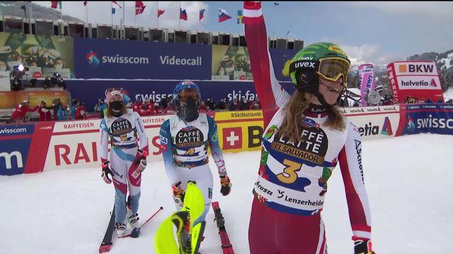 Lenzerheide (SUI), finales slalom dames: Katharina Liensberger (AUT) gagne le globe de la spécialité [RTS]