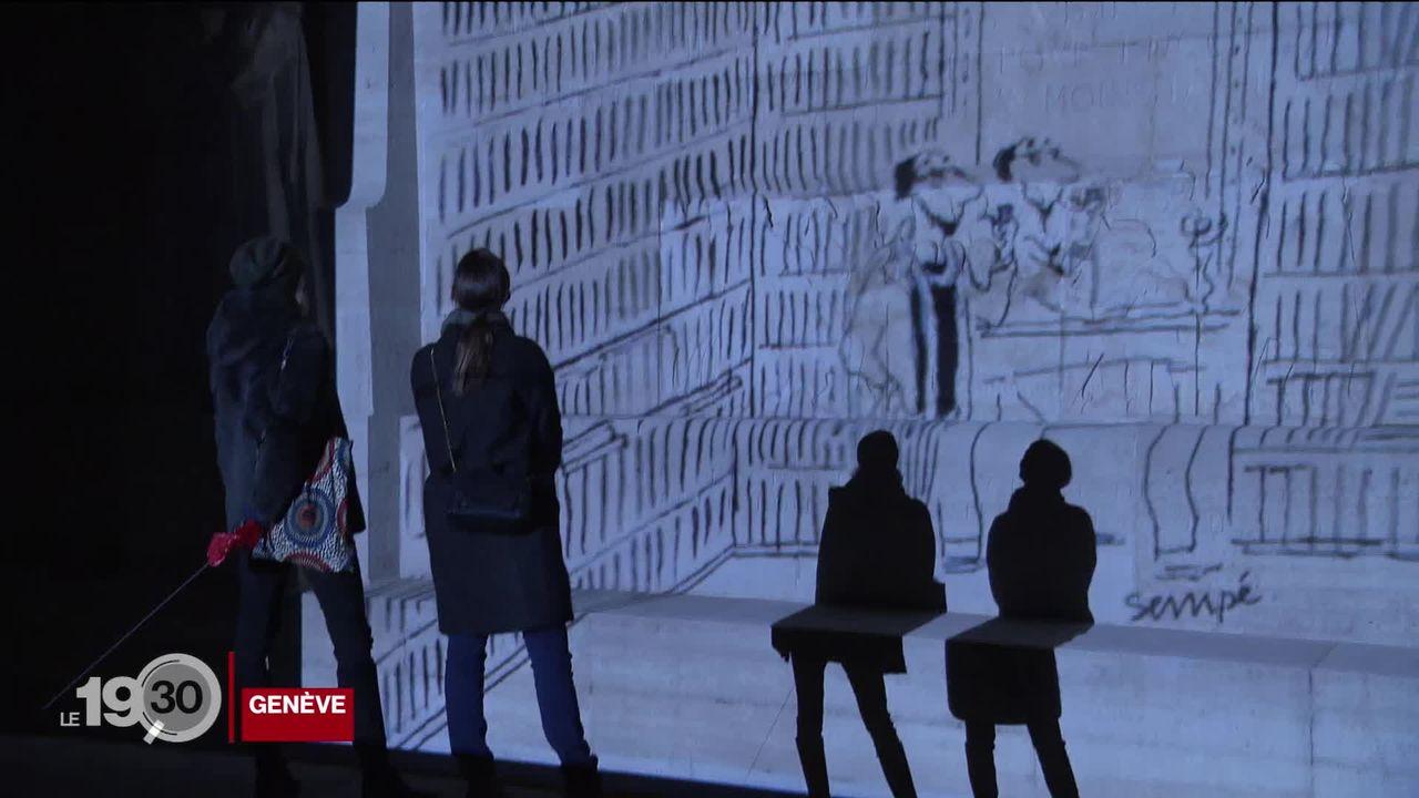 Les dessins malicieux du dessinateur Jean-Jacques Sempé sont projetés sur 6 bâtiments du centre-ville de Genève. [RTS]