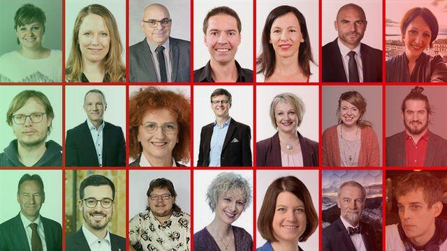 Les candidates et candidats au Conseil d'Etat neuchâtelois.