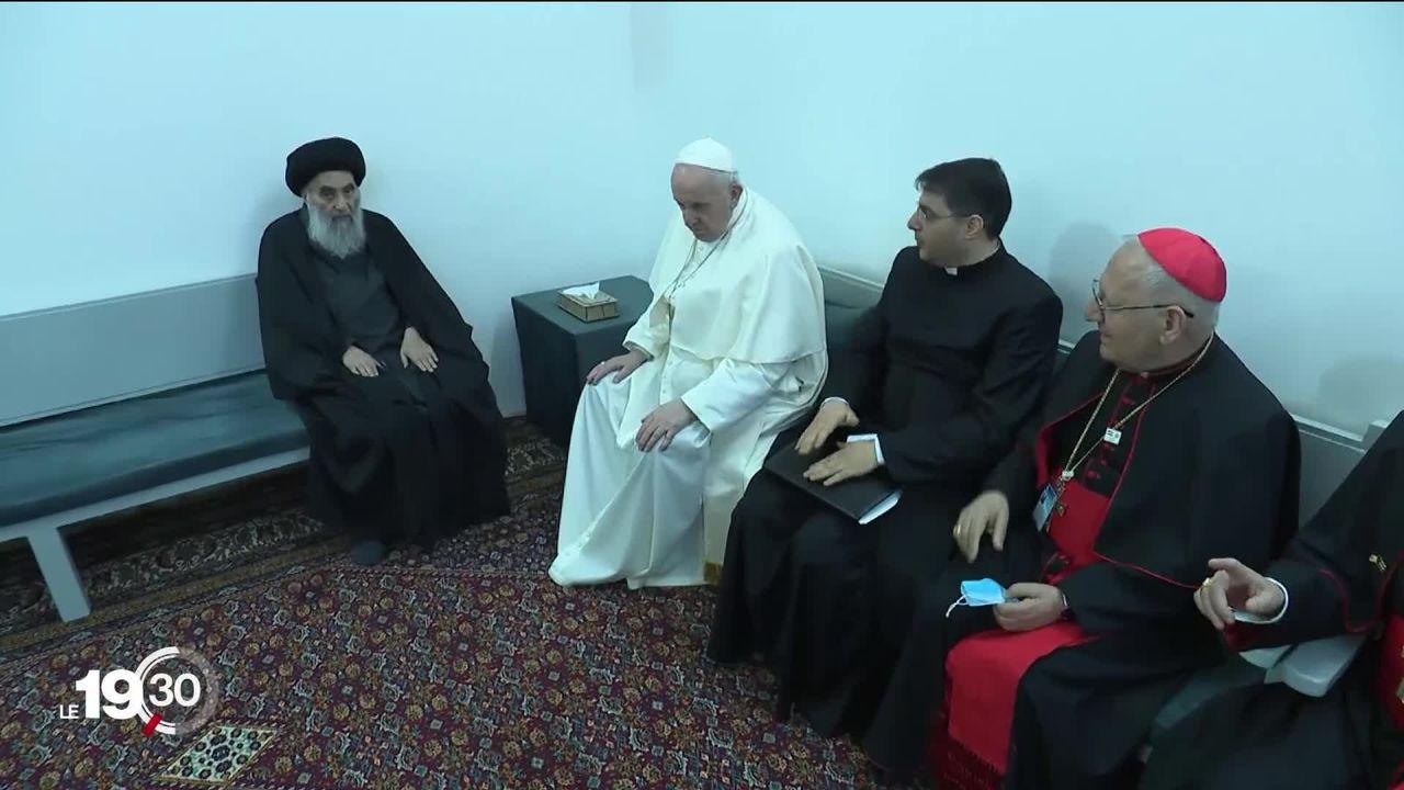 Rencontre au sommet entre deux autorités religieuses: le pape François et le grand ayatollah Ali Sistani s'engagent pour la paix [RTS]