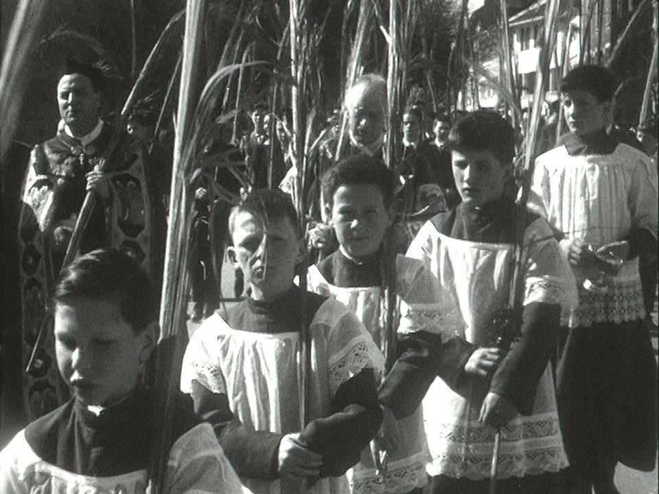 Le dimanche des Rameaux à travers la Suisse romande en 1960. [RTS]