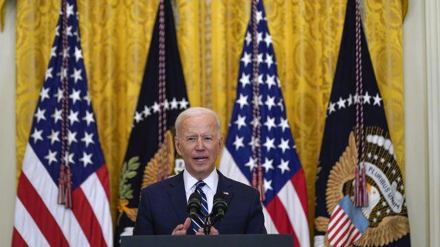 Joe Biden lors de sa première conférence de presse officielle en tant que président américain le 25 mars 2021. [AP Photo/Evan Vucci - Keystone]