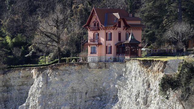 Glissement de terrain dans la commune de Saint-Martin-Vesubie (Alpes-Maritimes). [Valery Hache - AFP]