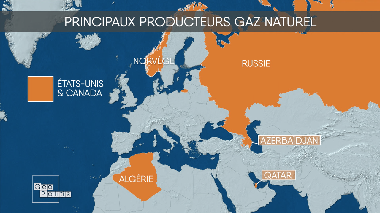 Principaux producteurs de gaz naturel [Géopolitis - RTS]