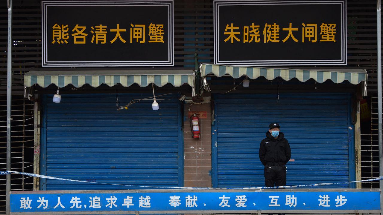 Le marché Huanan, à Wuhan, est fermé. [Hector Retamal - AFP]