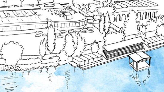 Un croquis de la scène sur le lac à Montreux. [Montreux Jazz Festival]