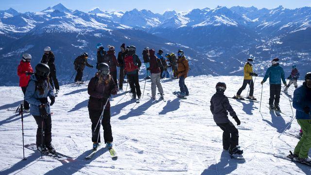 Sur les pistes de ski d'Anzère, 24 janvier 2021. [Laurent Gilliéron - Keystone]