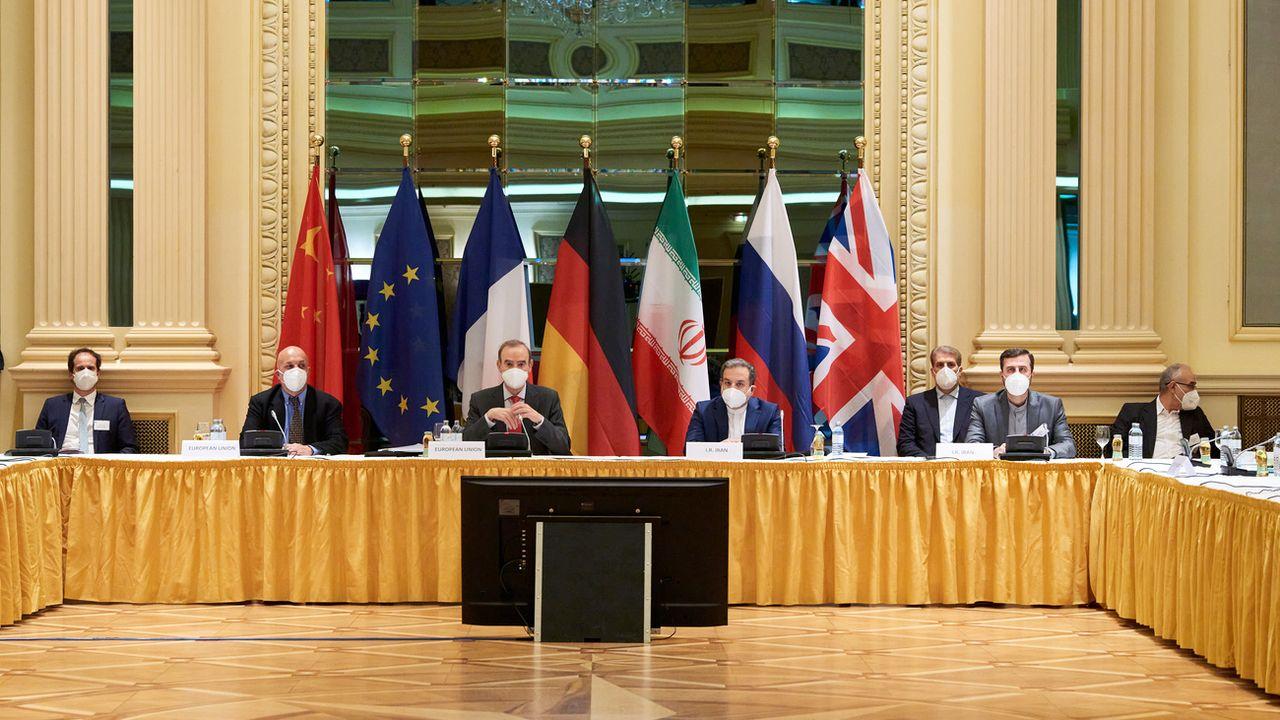 Les discussions sur le nucléaire iranien ont débuté dans un hôtel de Vienne, mardi 06.04.3021. [Lars Ternes - EU delegation in Vienna/APA/Keystone]
