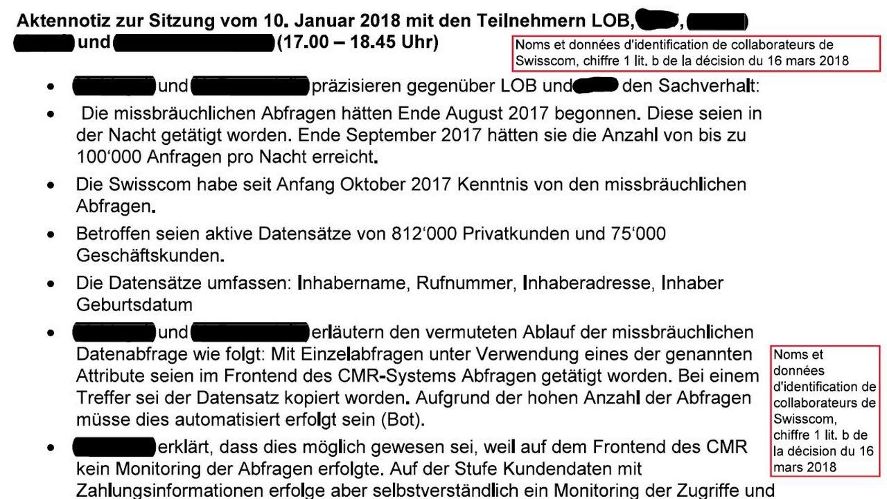 Extrait de l'échange entre le préposé fédéral à la protection des données et Swisscom reçu par On en parle. [DR]