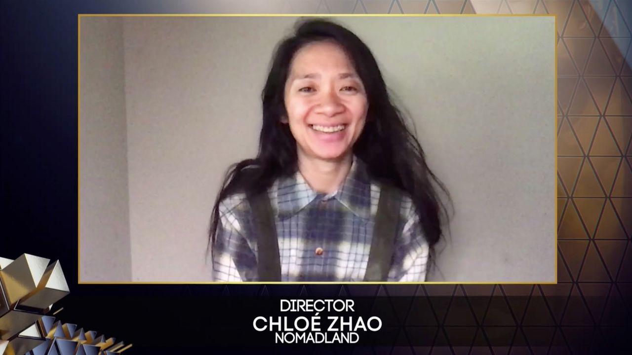La réalisatrice Chloé Zhao lors de la cérémonie des Bafta le 11 avril 2021. [Keystone]