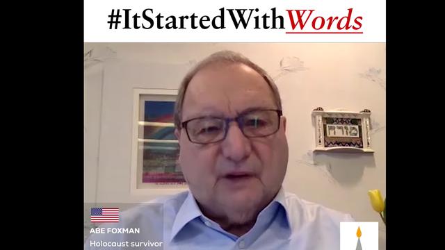"""Image de la vidéo du témoignage d'un survivant de la Shoah dans le cadre de la campagne """"It started with words"""". [DR - Claims Conference]"""