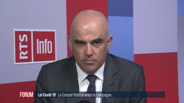 Le Conseil fédéral lance la campagne en faveur de la loi Covid-19: interview d'Alain Berset [RTS]