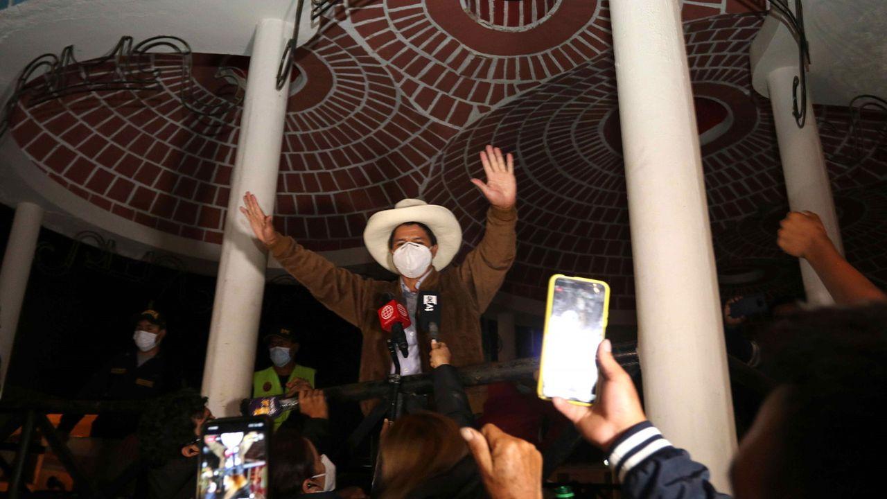 Après le dépouillement de 90% des bulletins, Pedro Castillo compte 18,83% des suffrages. [Francisco Vigo - Keystone/EPA]