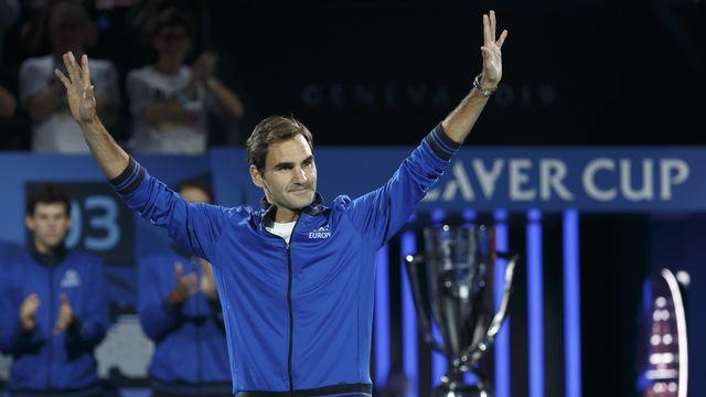 Roger Federer lors de son dernier passage par Genève en tant que joueur, à la Laver Cup 2019. [Salvatore Di Nolfi - Keystone]