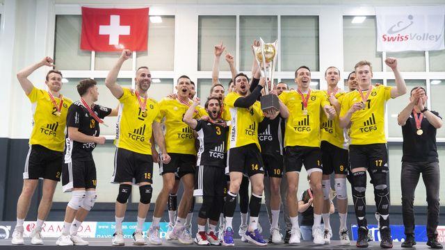 Chênois a su déjouer les pronostics en battant le favori Amriswil, remportant ainsi un 7e titre de champion de Suisse. [Salvatore Di Nolfi - Keystone]