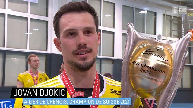 Jovan Djokic, ailier de Chênois, champion de Suisse 2021 [RTS]
