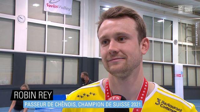 Robin Rey, passeur de Chênois, champion de Suisse 2021 [RTS]