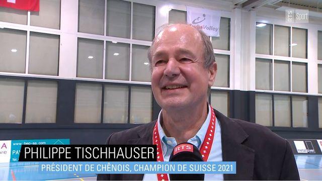 Philippe Tischhauser, président de Chênois, champion de Suisse 2021 [RTS]