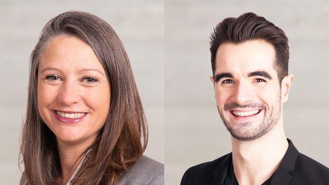 Les candidats des Vert'libéraux au Conseil d'Etat, Irene Bernhard et Loris Grandjean. [Keystone]
