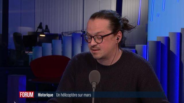 """L'hélicoptère Ingenuity de la Nasa réussit le """"premier vol humain"""" sur Mars [RTS]"""