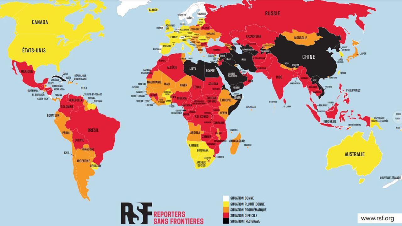 L'état de la liberté de la presse dans le monde, carte de Reporters sans frontières. [RSF]
