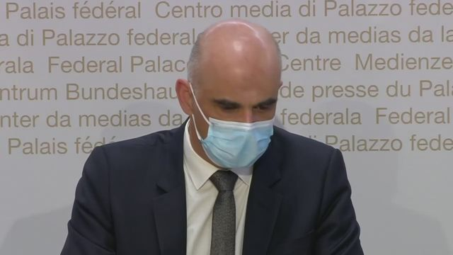 Alain Berset pendant la conférence de presse du 21 avril [RTS]
