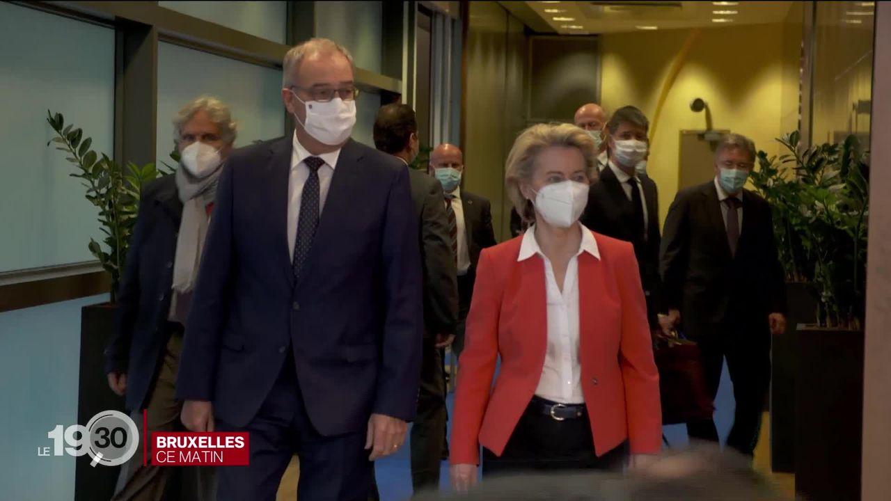 Accord-cadre: Guy Parmelin, en visite à Bruxelles, n'a pas réussi à s'entendre avec Ursula Von der Leyen. [RTS]