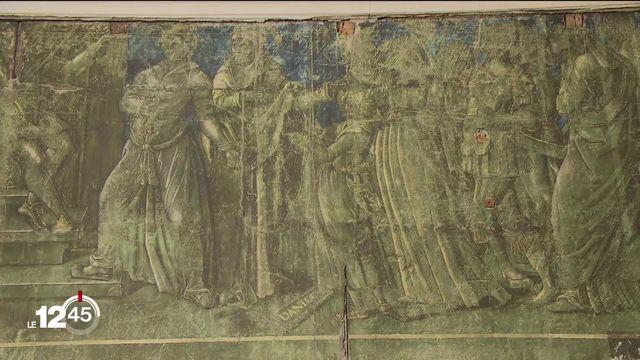 En pleine rénovation de l'hôtel de ville de Fribourg, découverte d'une fresque du 16e siècle. [RTS]