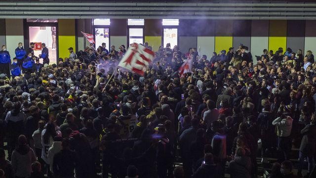 Liesse populaire à Porrentruy après la promotion du HC Ajoie [Georgios Kefalas - Keystone]