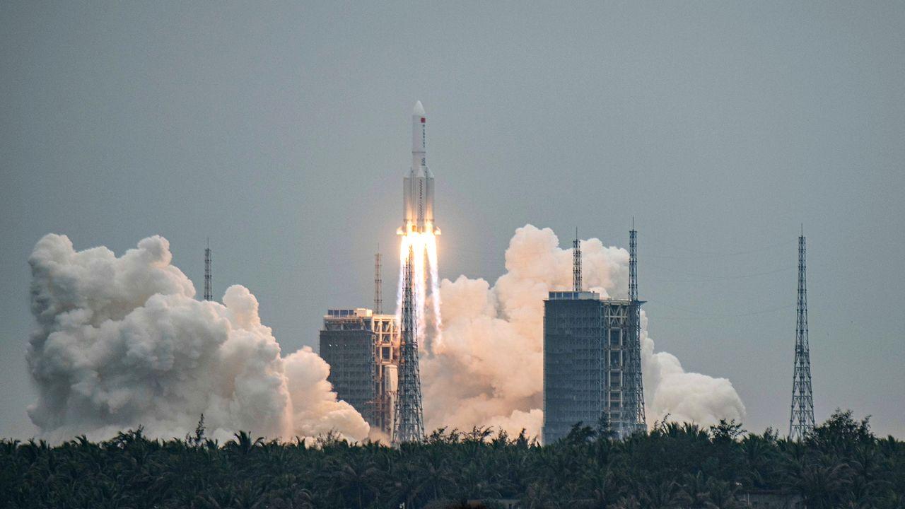 La fusée a été lancée depuis le centre de Wenchang, sur l'île chinoise de Hainan. [Matjaz Tancic - EPA/Keystone]