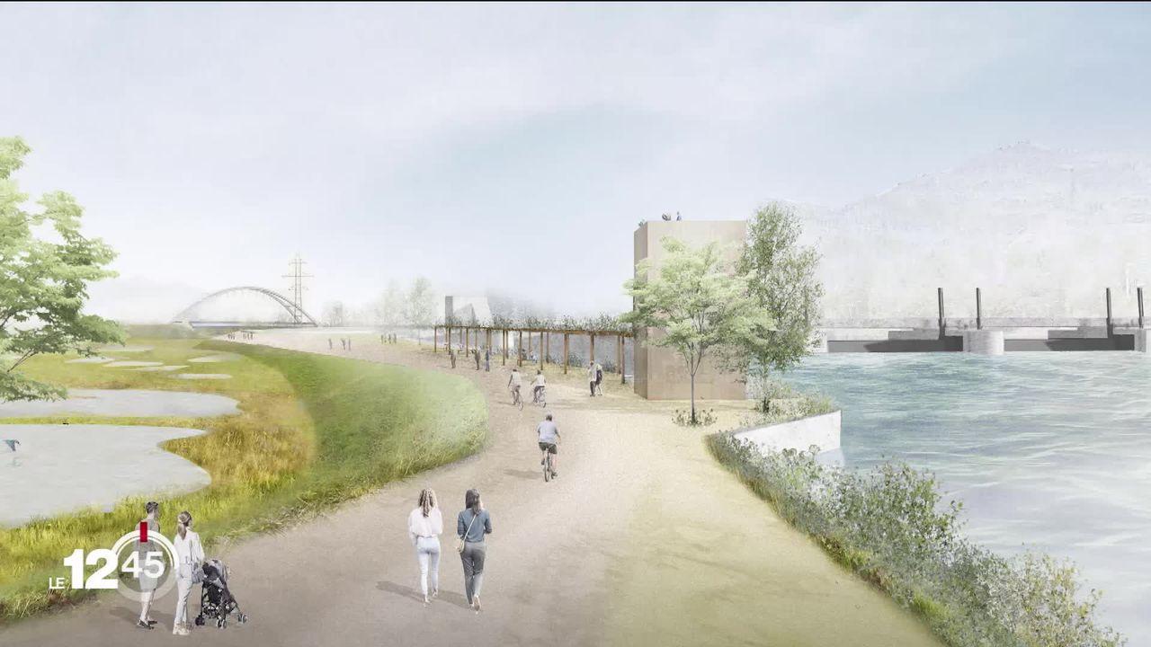 Présentation d'un projet de barrage sur le Rhône entre Bex et Massongex. Les écologistes ne sont pas convaincus [RTS]