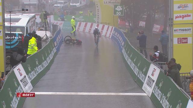 4e étape, Sion - Thyon 2000: Geraint Thomas (GBR) chute à 30 mètres de l'arrivée et offre la victoire à Michael Woods (CAN) [RTS]